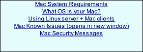 Mac System Requirements What OS is your Mac?  Using Linux server + Mac clients Mac Known Issues (opens in new window) Mac Security Messages